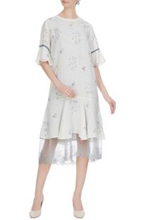 White linen floral hand block printed midi dress