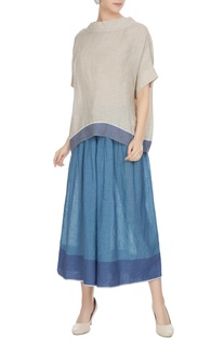 Blue linen pintuck flared culottes