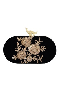 Black velvet hand embroidered sling clutch