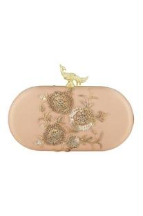 Blush pink velvet hand embroidered sling clutch
