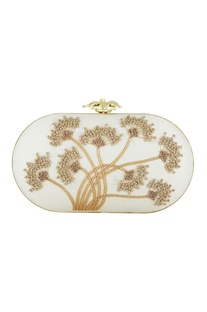 Gold silk hand embroidered sling clutch