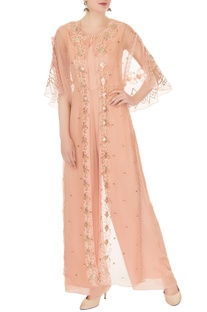 Peach crepe georgette & organza high-low jumpsuit with cape