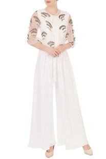 Pristine white crepe georgette & organza high-low jumpsuit with cape