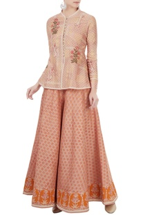 Peach peplum style jacket with sharara pants