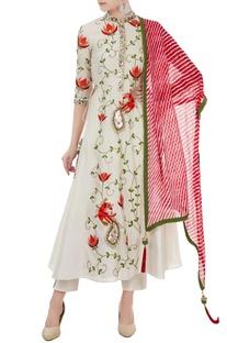 Off white chanderi thread & mirror work a-line kurta with dupatta