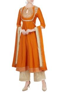 Orange chanderi gota embroidered kurta with dupatta