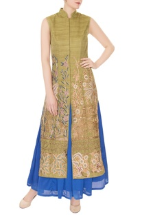 Olive silk dori, thread & bead embroidered jacket with blue satin skirt