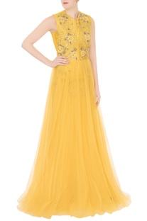 Yellow net zardozi & zari embroidered gown