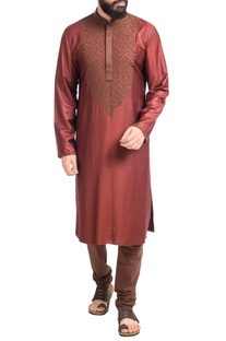Maroon hand embroidered muga dupion silk kurta with churidar