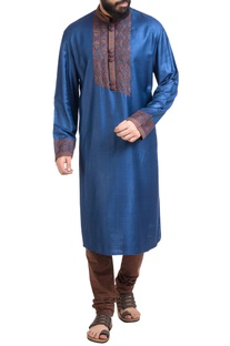 Blue abstract motif hand embroidered kurta with churidar