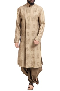 Beige linen machine embroidered kurta with patiala pants
