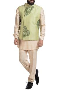 Green muga dupion silk nehru jacket with off-white kurta & pants