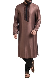 Brown muga dupion silk hand embroidered kurta with churidar
