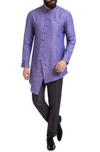 Purple linen asymmetric kurta