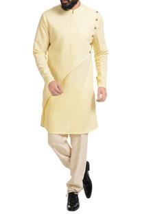 Lemon yellow linen kurta set