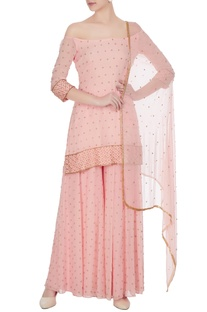 Rose pink bead embellished kurta set