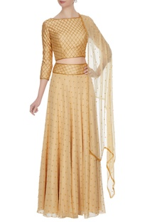 Beige georgette, chiffon & silk bead embellished lehenga with blouse & dupatta