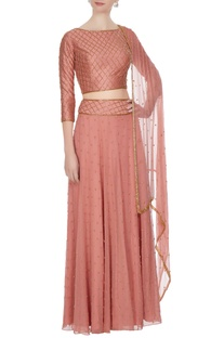 Onion pink georgette, chiffon & silk bead embellished lehenga with blouse & dupatta