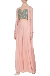 Rose pink & grey georgette & crepe bead & sequin embroidered blouse, palazzo pants & cape