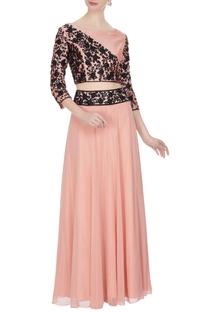 Pink georgette & silk dori work & bead embellished blouse & skirt