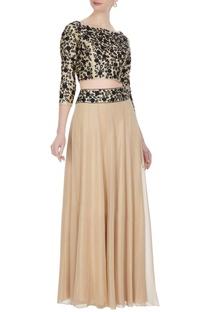 Beige georgette & silk dori work blouse & skirt