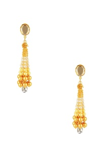 Gold plated Tarun Tahiliani long tassel earrings