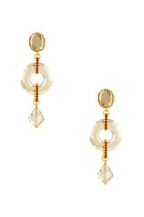 Gold plated Tarun Tahiliani disc earrings