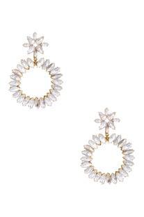 Gold plated swarovski crystal circular floral earrings