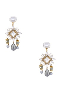 Gold plated swarovski earrings with pearl drops