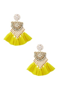 Gold plated earrings with swarovski crystals, pearls & yellow tassels