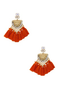 Gold plated swarovski earrings with pearls & orange fringe detailing