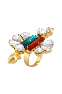 Gold plated swarovski crystal statement ring