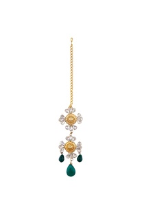 Gold plated floral maangtikka with swarovski crystals
