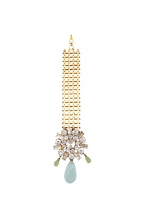 Gold plated swarovski crystal maangtikka with mint green drops