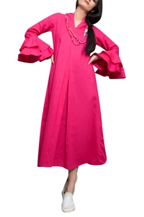Fuchsia pink cowl dress with frilly sleeves
