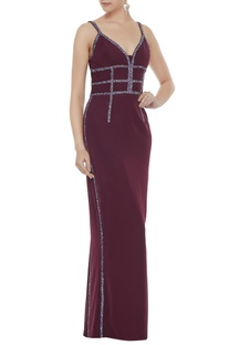 Wine stretch fabric diamond pattis gown