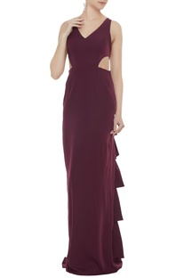 Wine stretch fabric frilled & cut-out sheath gown