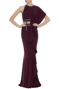 Wine stretch fabric stone patti gown with draped panel