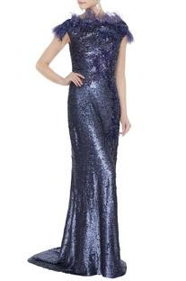 Navy blue sequin fabric tasseled sheath gown
