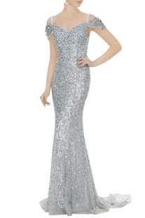 Silver net sequin cold-shoulder sheath gown