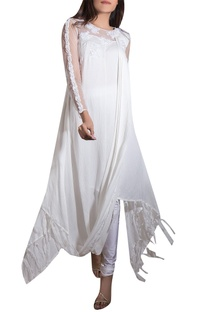 White crinkle satin, net & lycra hand embroidered kurta with churidars