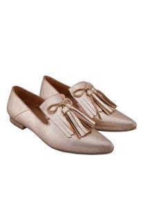 Cosmo gold leather tasseled ballerinas
