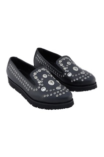 Black synthetic eyelet shoes