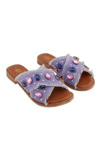 Violet denim embellished slip-on flats