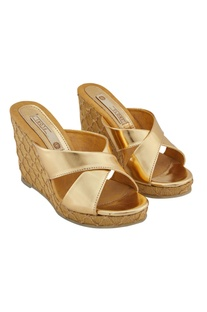 Gold synthetic embroidered wedges