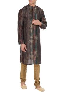 Multi-colored chanderi & cotton silk striped  kurta