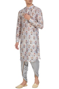 Grey tussar & cotton silk floral print  kurta