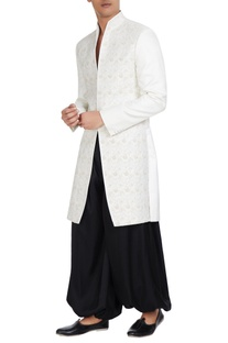 Tonal embroidered high-neck sherwani.