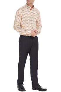 Beige & orange moustache printed cotton shirt
