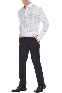 White linen micro-printed shirt